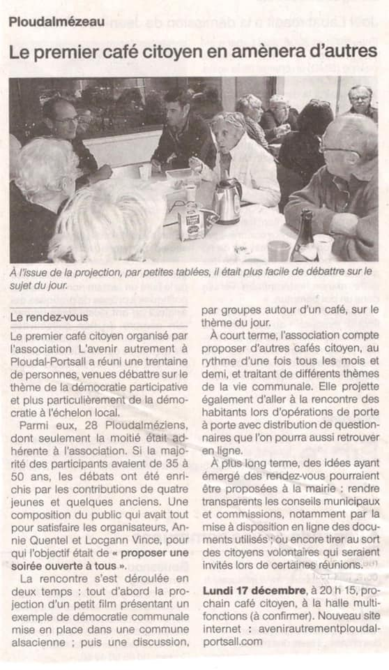 article café citoyen Ouest-France 2 novembre 2018