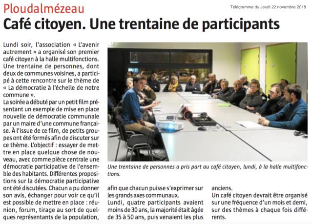 Article novembre 2018 Café Citoyen Télégramme