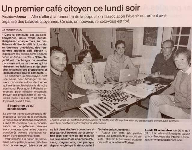 Article Ouest-France novembre 2018 café citoyen 1