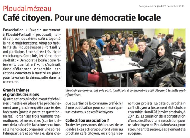 article café citoyen 2 Télégramme décembre 2018